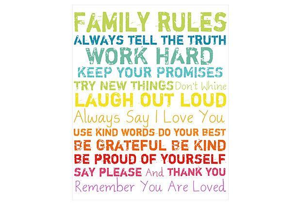 Family Rules-Colorful Canvas on OneKingsLane.com