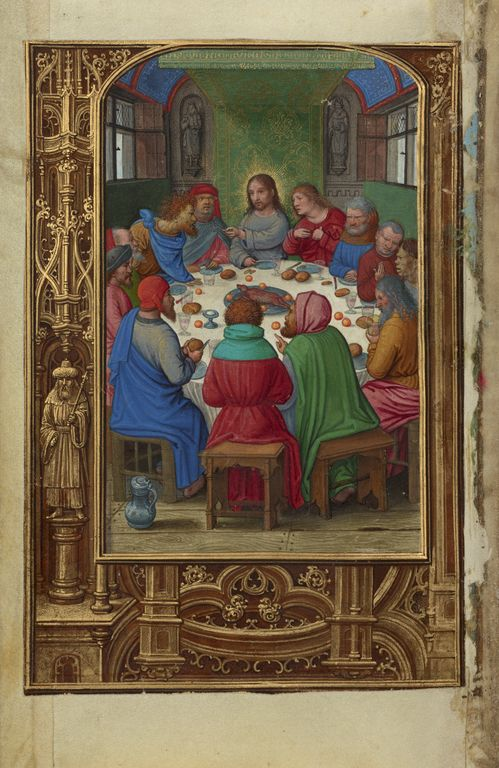 """""""The Last Supper,"""" Simon Bening, Bruges, Belgium, about 1525 - 1530. Tempera colors, gold paint, and gold leaf on parchment. 
