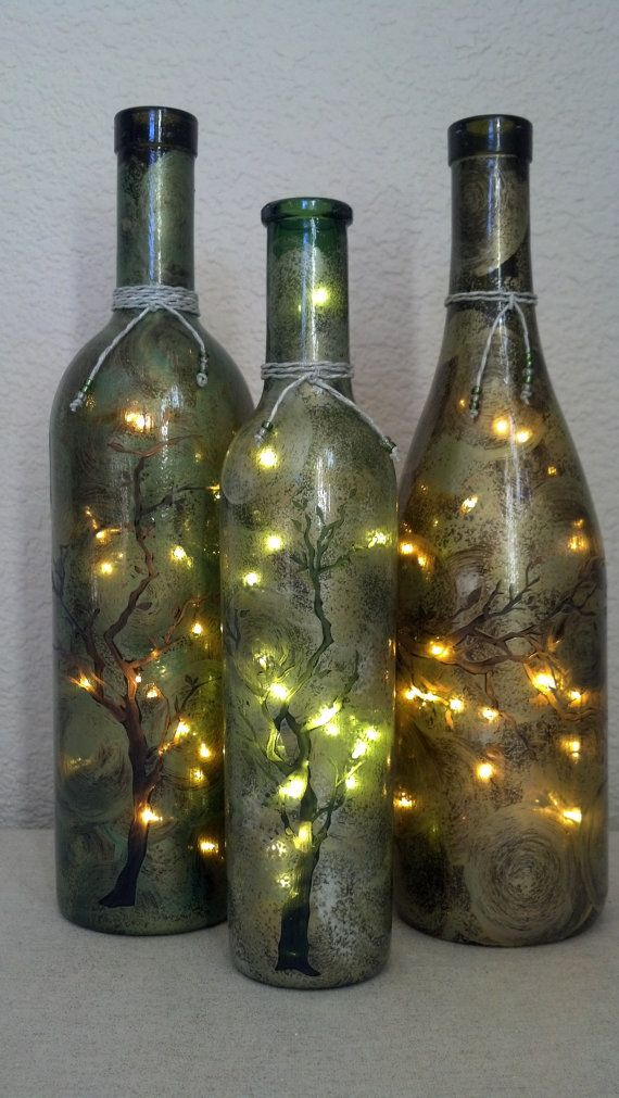 Tree Branches Wine Bottle Lamp Set of 3 by reWINEdbottleart