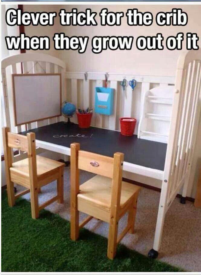 Cool way to re-purpose a non-convertible crib!