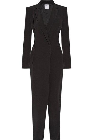 DKNY - Ribbed-knit Paneled Stretch-crepe Jumpsuit - Black - US