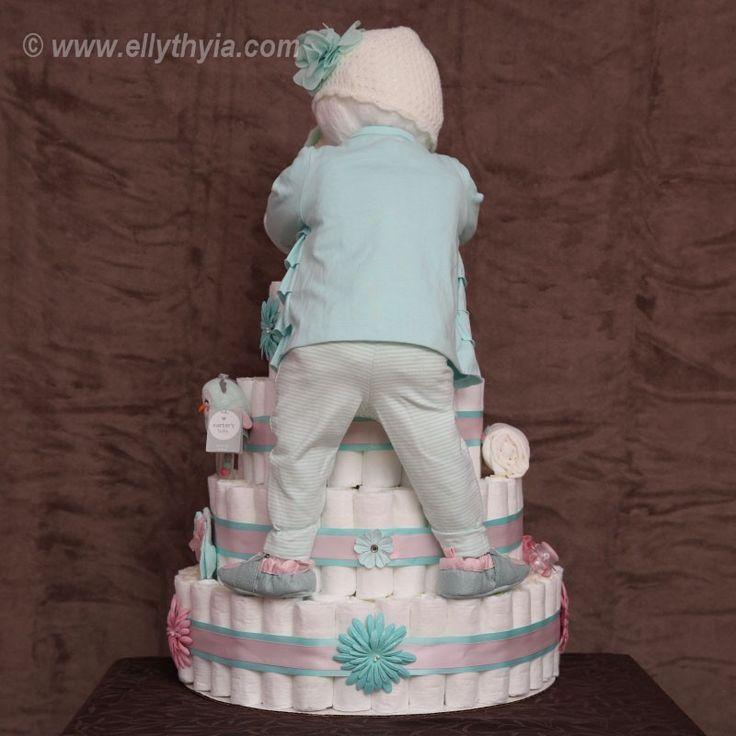Teal Owl and Baby Girl Diaper Cake - Toronto Diaper Cakes and Baby Gifts