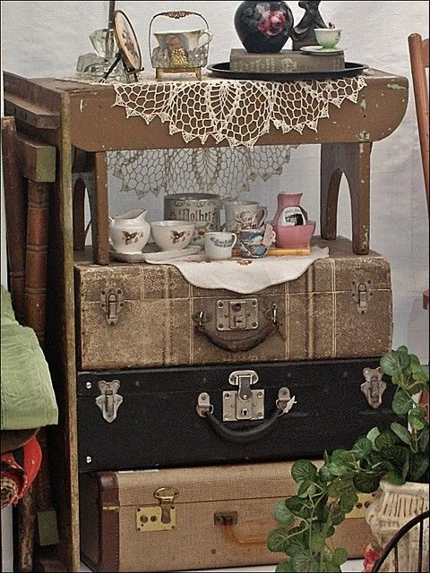Love this, could store things in the vintage suitcases too.