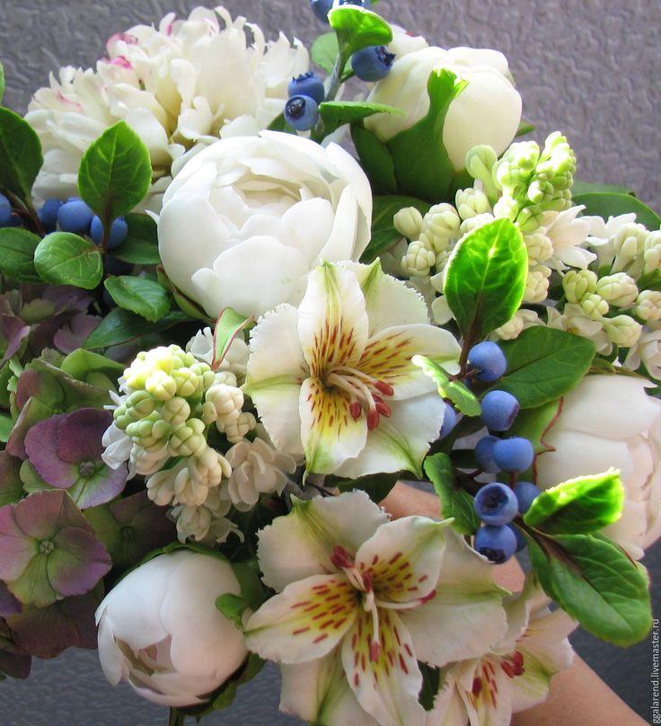 """Купить Букет"""" Сладкий ноябрь """"из полимерной глины. - белый, голубой цвет, желтый цветок"""