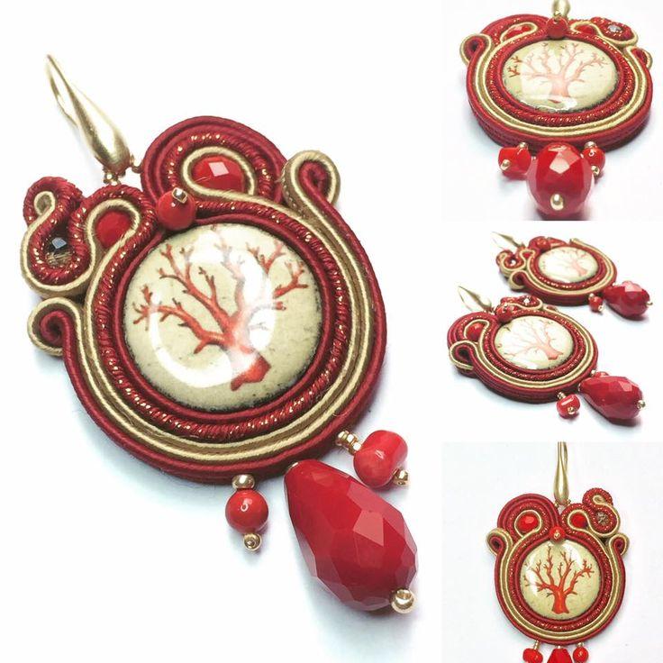 Orecchini in soutache con pietra lavica ceramizzata. Soutache earrings with ceramic lava stone.