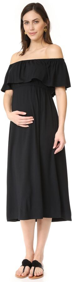 An off-shoulder Ingrid & Isabel maternity dress crafted in cozy jersey. A ruffle trims the covered-elastic top edge. Beautiful party maternity dress. Pretty pregnancy outfit. #affiliate #momstyle #momfashion #stylish #maternitydress