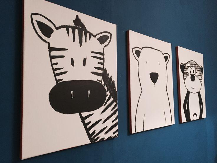 Schilderijen stoere jongenskamer van eigen knuffels