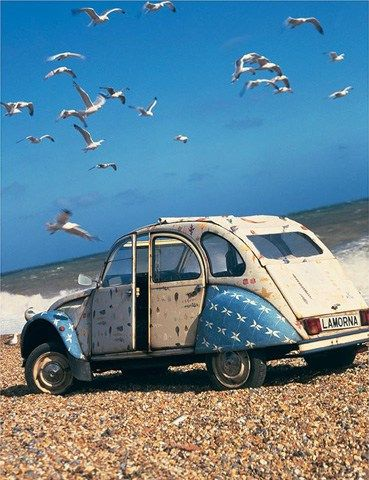 Romantic 2CV on the beach... | car wrap vehicle graphic