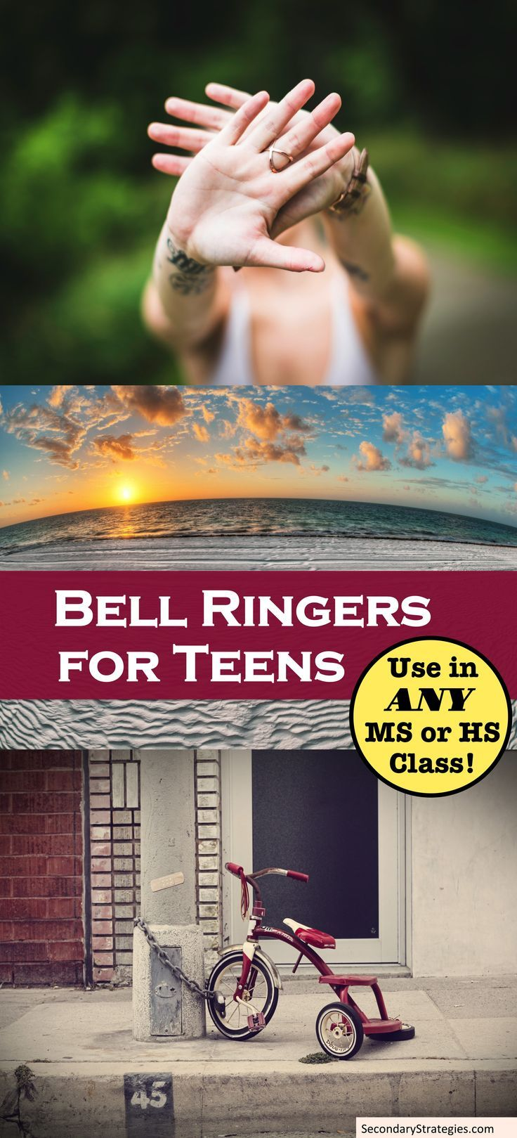 Bell Ringers are a great way to begin class and to build community in your classroom. Designed with stunning photographs and prompts teens will respond to, these 26 Bell Ringers are ideal for ALL Middle and High school classrooms.