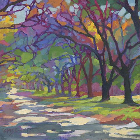 Sunny Oaks daily oil painting of old oak trees in Savannah, Georgia • little landscape paintings • contemporary fauve impressionist landscape art