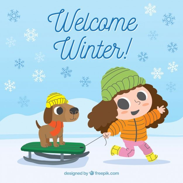 Download Welcome Winter Background With Girl And Her Dog For Free Welcome Winter Winter Background Snowman Coloring Pages
