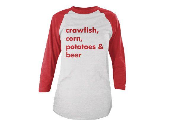 Crawfish Shirt, New Orleans Shirt, NOLA Shirt, Crawfish Baseball Tee, Gift, Crawfish Season Shirt, Red Shirt