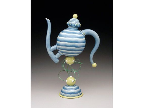 Teapot.+Sculptural+wire+suspended+functional+teapot.+by+VEpottery