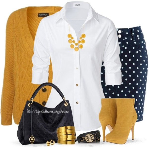 """""""Navy Blue & Mustard"""" ... i already have the cardigan and the skirt, now if only i can get the boots, hahaha"""