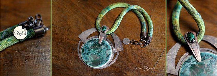 Green pendant - copper + crystalline ceramic  + malachite :)