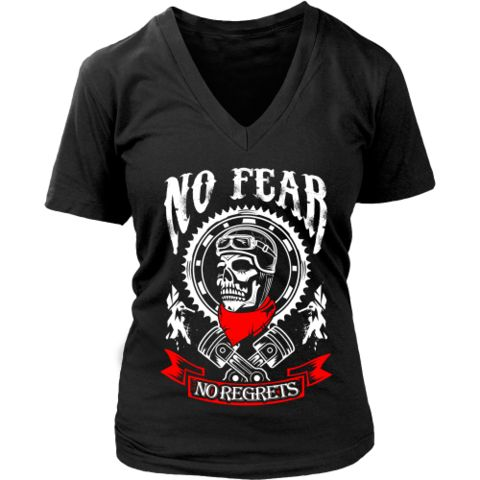 Motorcycle - 'No Fear' Women's V-Neck