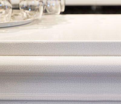 Lava bar counter close up edge profile, by Pyrolave UK.