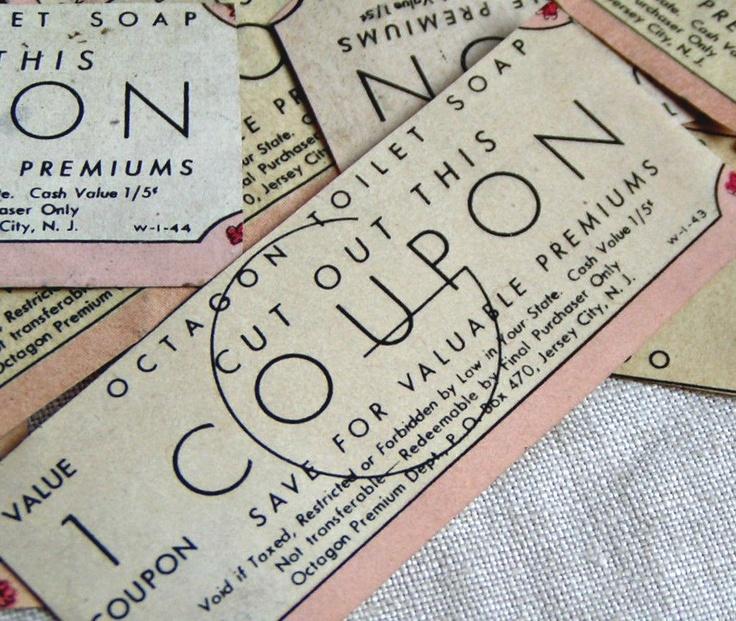 1940's Octagon Soap Coupons. Baker's Dozen
