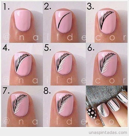 Gorgeous feather nails!  17 Amazing Spring Nail Tutorials 