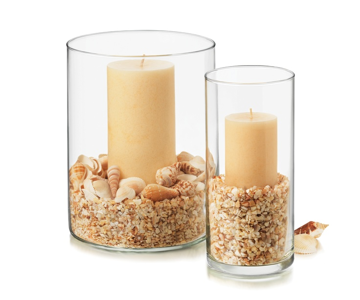 Seasonal Vase Supplies Glass Vase Sand Shells Candle Directions Fill Vase With Sand Add Sea