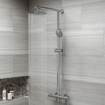 Round 250mm Cool to Touch Shower Kit with Handheld [PT-SP5103] - £149.99 : Platinum Taps & Bathrooms