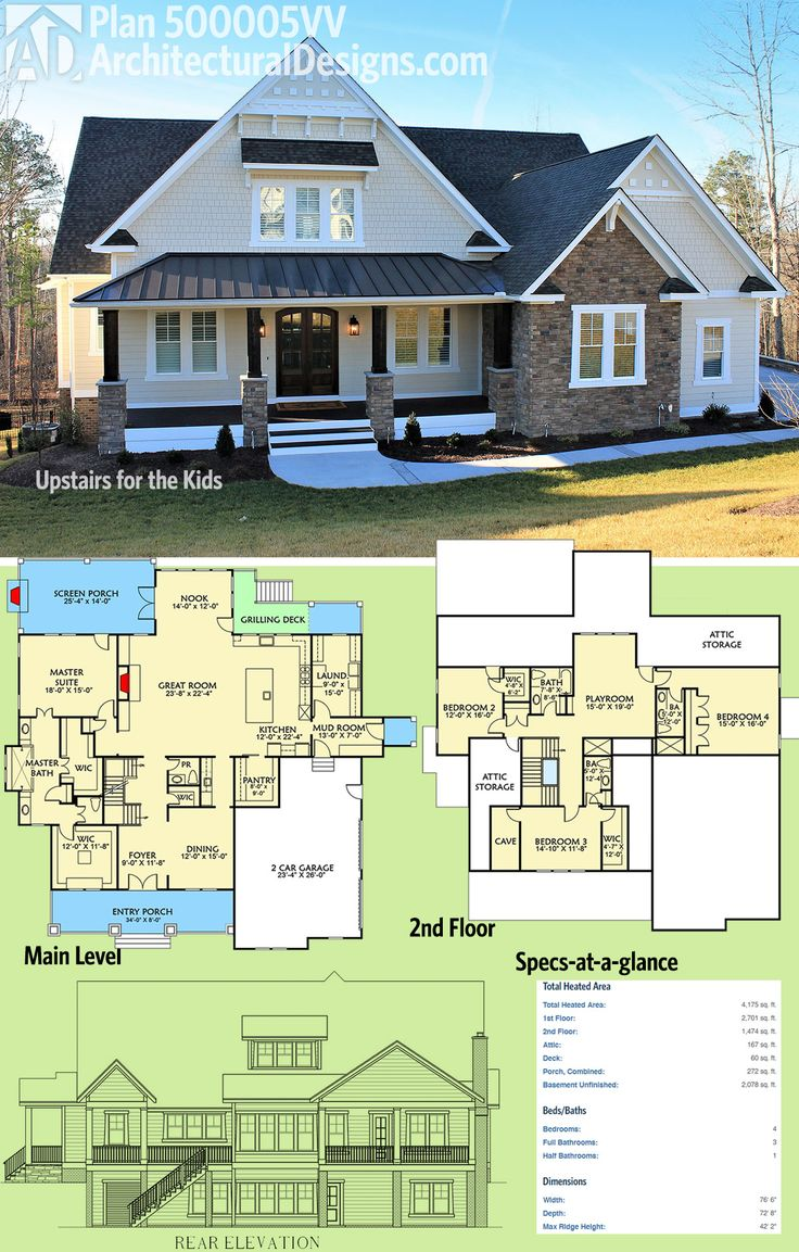 Architectural Designs House Plan 500005VV was designed to give the kids' their own floor upstairs. 4 beds in all, this Craftsman design gives you over 4,100 square feet of heated living space. Ready when you are. Where do YOU want to build? Possible balcony from 3rd bedroom