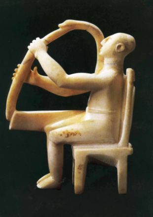 Greece, Early Bronze Age (3000-2000 B.C) Harp Player.  Badisches Landesmuseum, Karlsruhe, Germany.