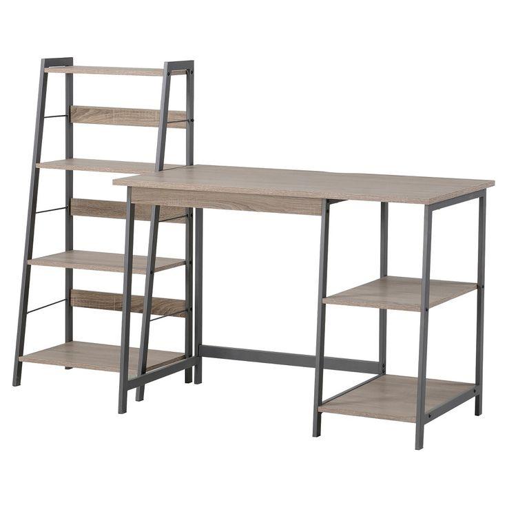 2 Piece Set Laptop Desk & 4 Shelf Bookcase Reclaimed Wood - Homestar, Light Brown