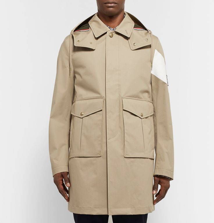 <a href='http://www.mrporter.com/mens/Designers/Moncler_Gamme_Bleu'>Moncler Gamme Bleu</a>'s cotton-gabardine parka is ideal for days when it's likely to rain but you want to dress sharp - it's designed with a removable drawstring hood. The white chevron stripe is a trademark detail of the collection, and the covered placket keeps the look streamlined.
