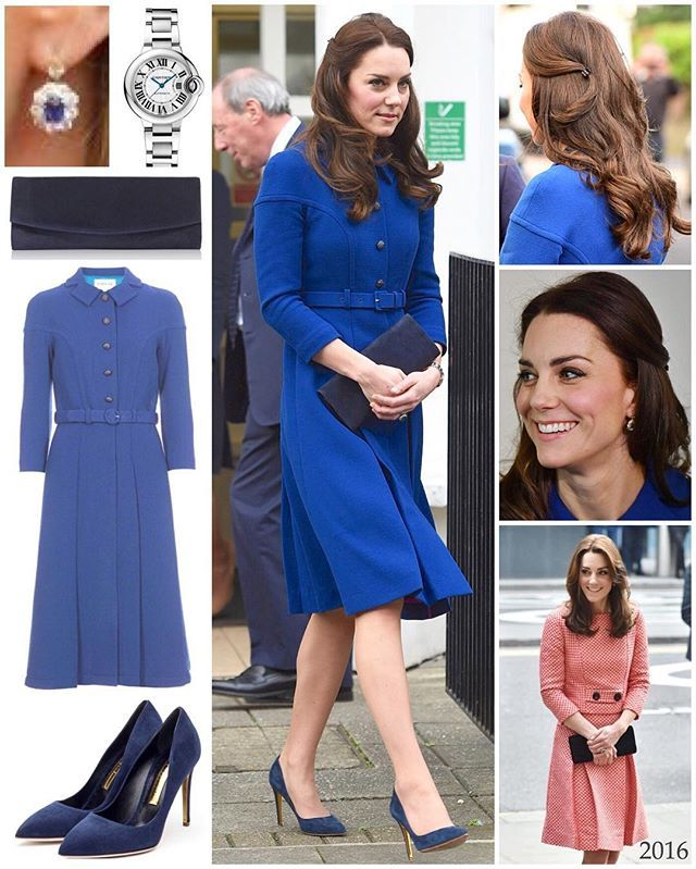 For her first day back at work this year, The Duchess opted for a striking blue coat dress by Eponine. The London based label is inspired by silhouettes of the 50's and 60's - a perfect match with Kate's timeless and elegant style.  This is the second time Kate has worn a piece by Eponine; in March of last year she wore a red and white skirt suit to an XLP mentoring program (shown above). The label's founder Jet Shenkman used to work as a bereavement counsellor, so it was quite appropriate…