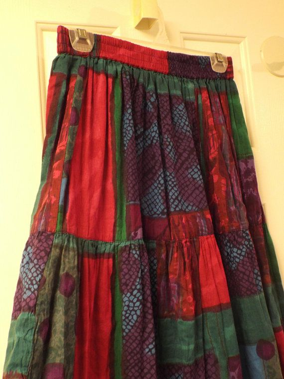 5a173a641d Vintage 1980s Maxi Skirt Festival Fashion Size Small Colorful Skirts For  Women