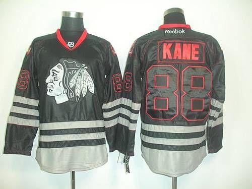 f0ee82aea ... Blackhawks 88 Patrick Kane Black Ice Embroidered NHL Jersey .