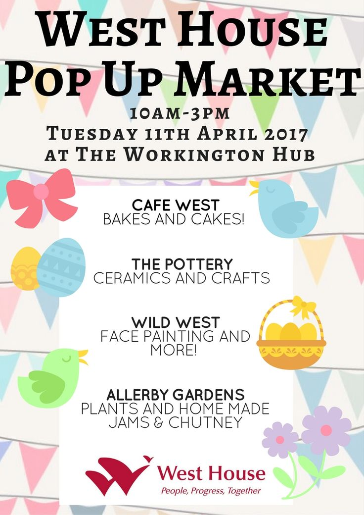 West House host Spring Fair http://www.cumbriacrack.com/wp-content/uploads/2017/04/WEST-HOUSE-POP-UP-MARKET.jpg West House Community Activities and Enterprises are throwing a great Spring Fair in the Workington Hub on Tuesday 11th April 2017! There will be face painting, children's crafts, a bake sale, pottery sale AND MORE!    http://www.cumbriacrack.com/2017/04/06/west-house-host-spring-fair/