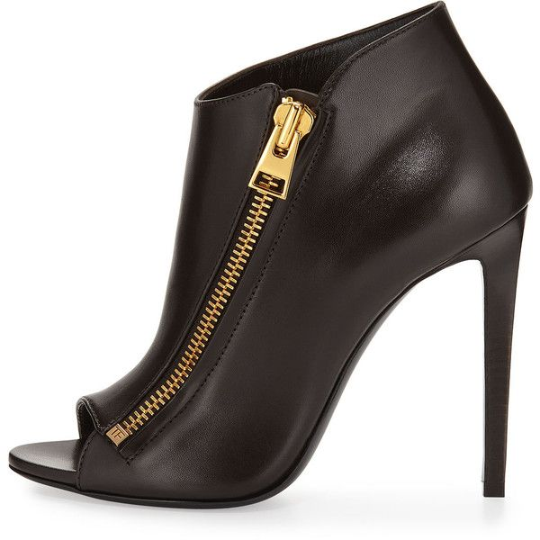 TOM FORD Open-Toe Side-Zip Bootie (£650) ❤ liked on Polyvore featuring shoes, boots, ankle booties, high heel ankle booties, brown open toe booties, brown ankle booties, brown high heel boots and brown bootie