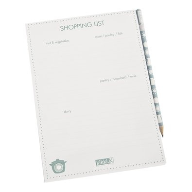 Magnetic Shopping List: Categories    This stylish Shopping List was designed to make your grocery shopping organised and stress free.    Categorised into 4 sections, fruit & vegetables, meat/poultry/fish, pantry/household/misc and dairy, you can organise your list into easy to find groups and avoid missing those important items.    Keep it on your fridge and add items as they run out. The handy elastic pencil loop means you'll always have something to write with.    The perfect gift for any…