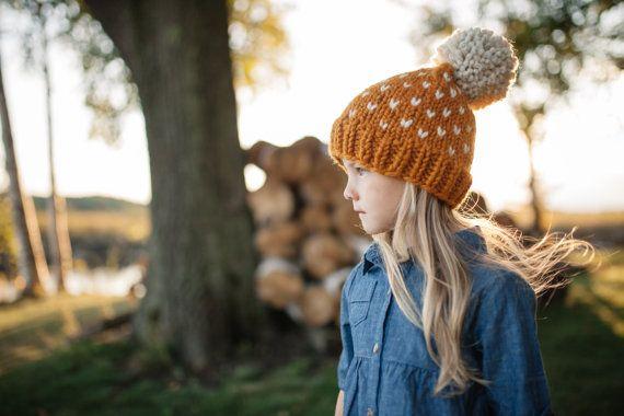 Chapeau patron / / le modèle de bonnet en tricot / / enfant en bas âge chapeau motif / / Fair Isle chapeau motif / / petits coeurs motif / / chapeau de motifs
