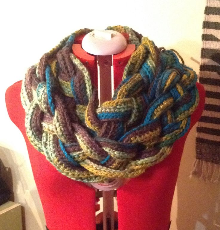 Crochet and braided scarf