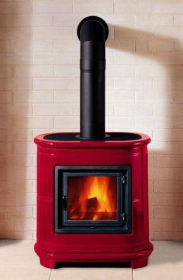 Modern Red Wood Burning Fireplace
