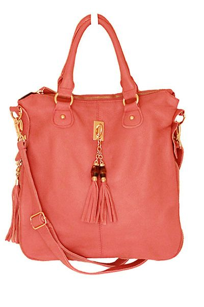 Coral bag.: Coral Leather,  Postbag, Summer Style, Coral Bags, Pink Leather, Summer Bags, Leather Tassels, Leather Totes, Tassels Satchel