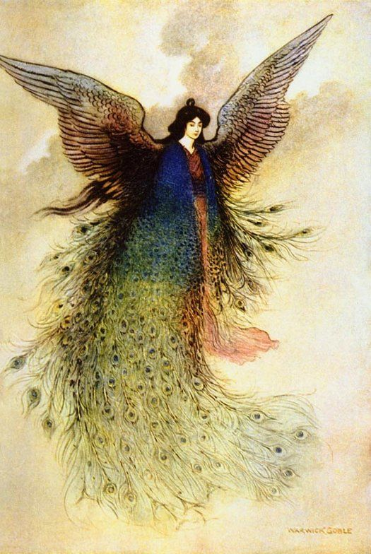 "The Moon Maiden - illustration by Warwick Goble for ""Green Willow and Other Japanese Fairy Tales"""