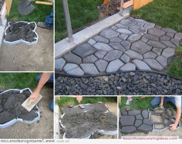 Diy cement cobblestone backyard path beatiful home for Cement garden paths