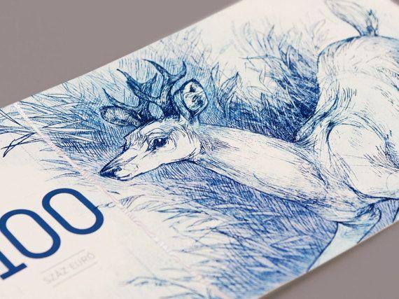 Hungarian euro original etching prints 100 euro by BarbaraBernat