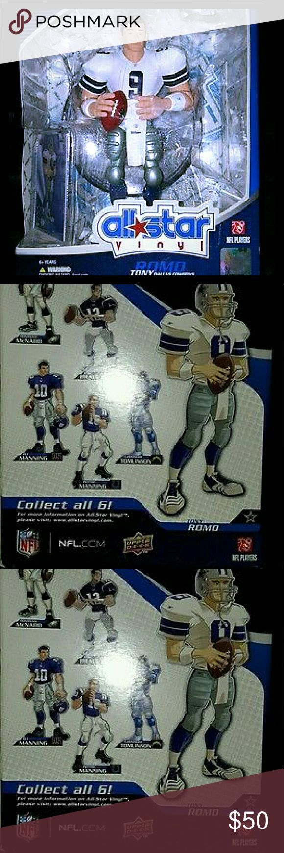 "Tony Romo Upper Deck All Star Vinyl 9"" Figure Upper Deck Tony Romo All Star Vinyl collectible figure from 2008. NFL Series 1, new in box, has never been removed from it's packaging. Figure is approximately 9 inches tall and comes with football, helmet, stand, and trading card. Smoke free home, fast shipping. Other"
