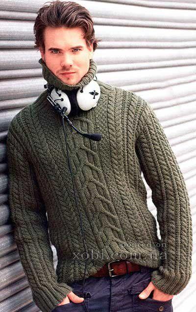 мужской свитер с косами вязаный спицами