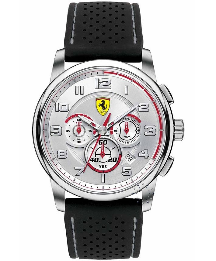 FERRARI Heritage Chronograph Black Rubber Strap, 399€ http://www.oroloi.gr/product_info.php?products_id=33441