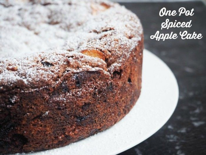 One pot spiced apple cake. This is decadently yum. Simple ingredients (swap sultanas for chopped dates), quick to whip up, and yields a big cake. Def a keeper!