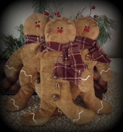 Primitive Grungy Gingerbread Men - Set of 3 - Rusty Jingle Bells  OFG, HaFair, FAAP, AHC