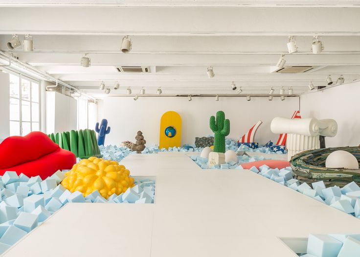 Gufram's 50 Years of Design Against the Tide exhibition shows classic products alongside more recent pieces by designers including Ross Lovegrove and Alessandro Mendini