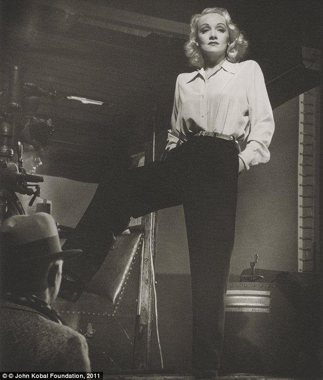 "Marlene Dietrich on the set of ""Manpower"" in 1941 in a portrait by Laszlo Willinger."