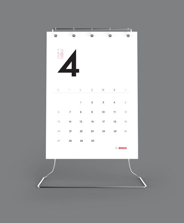 "Been tasked by Bosch to design the Calendar of next year. The comination of using paper and aluminium as the general look and feel was strickly guided by the law of simplicity. ""Future is now"" has been selected as the title of the calendar, which implie…"